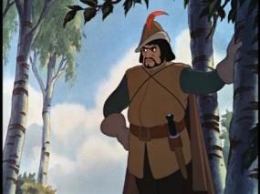 Le chasseur appuyé contre un arbre, une main sur la hanche, l'air renfrogné.