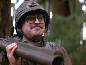 Un soldat satisfait d'être crédité dans Rambo
