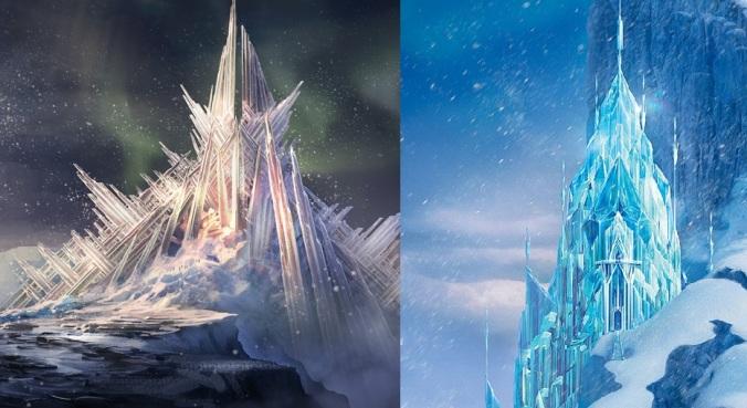 Comparaison de la forteresse de solitude de Superman et du château d'Elsa.