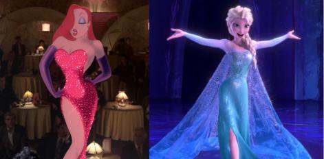 Jessica Rabbit et Elsa dont les silhouettes et les robes se ressemblent.