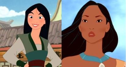 Mulan et Pocahontas, deux femmes fortes.