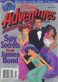 Un magazine avec en couverture James Bond et les personnages Disney de Megara, Jasmine et Esmeralda.