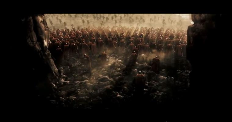 Image du film 300, l'armée Spartiate dans un goulet d'étranglement