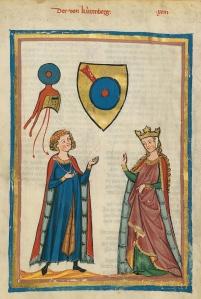 Image d'un manuscrit allemand du XIIIème siècle où l'on voit un homme et une femme en habits d'époque.