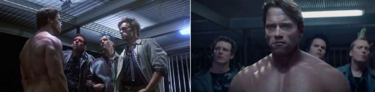 A gauche, le vrai Schwarzy de 1984, à droite le Schwarzy en images de synthèse de 2015.