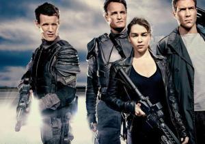 Affiche du film avec Sarah et John Connor, Kyle Reese, et le personnage interprété par Matt Smith.