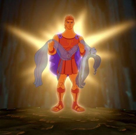 Hercule lumineux porte l'âme de Mégara qu'il vient de sauver des Enfers.