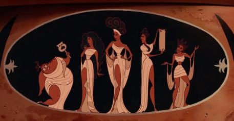 Les cinq muses du film Hercule.