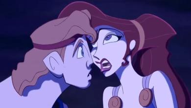 Hercule et Mégara sur le point de s'embrasser