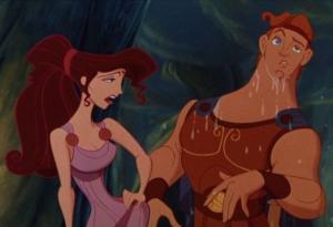 Mégara se déhanche et Hercule est trempé.