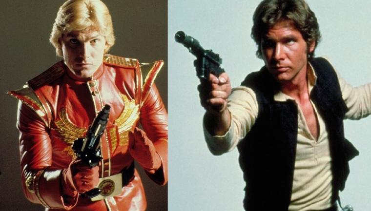 Flash Gordon et Han Solo dans des postures similaires