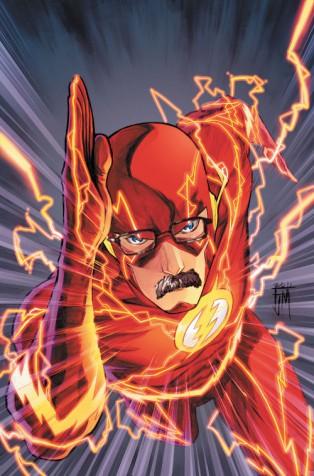 The Flash (super-héros) avec une moustache et des lunettes.
