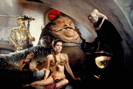 Leia, prisonnière de Jabba le Hutt dans Star Wars 6.