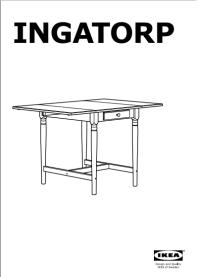 Première page d'un manuel d'assemblage pour table Ingatorp d'Ikea