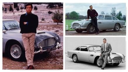 A gauche, Pierce Brosnan, en haut à droite, Sean Connery, en bas à droite, Daniel Craig. Il n'y a que la voiture qui ne change pas.
