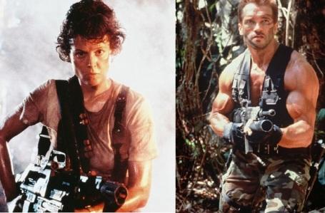 Les héros d'Alien et de Predator, côte à côte.