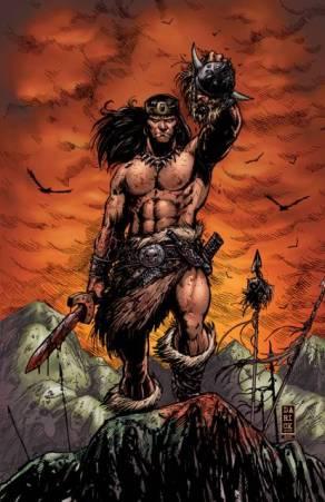 Conan tel que vu dans les comics, tenant une tête à la main.