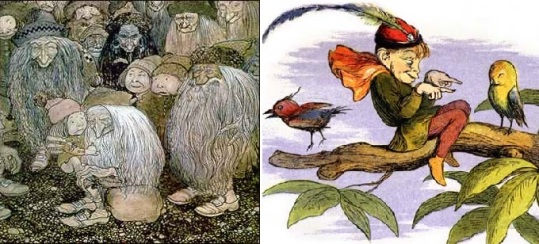 Illustrations de nains et d'elfes dans le folklore européen.