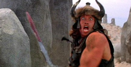 Conan, remonté et sur le point de tuer quelqu'un.