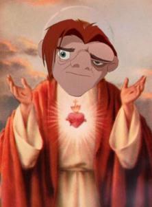 Représentation de Jésus avec la tête de Quasimodo (en référence à un autre article)