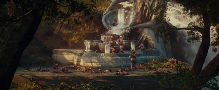 Scène des nains prenant un bain dans la fontaine d'Elrond, présente dans la version longue du premier film