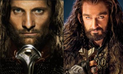 Aragorn et Thorin, prenant la même pose.