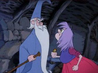 Merlin et Madame Mim se querellent.