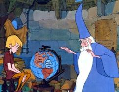 Arthur et Merlin devant un globe terrestre.