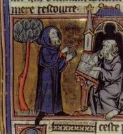 Merlin dictant ses prophéties à son scribe ; miniature du XIIIème siècle