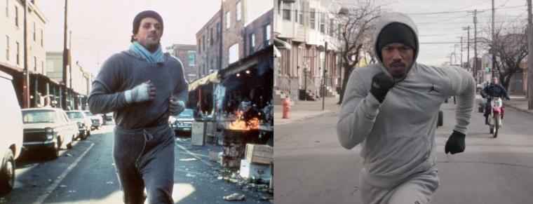Rocky et Adonis, s'entraînant chacun dans leur film dans une scène similaire.
