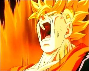 Son Goku se transformant en super sayen