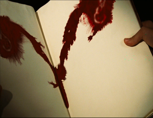 Une tâche de sang prenant la forme d'un sexe féminin.