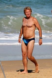Franck Dubosc en maillot de bain pour le film Camping.