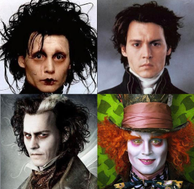 Johnny Depp mal coiffé dans les films de Tim Burton.
