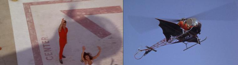 Robin en hélicoptère saluant un professeur de sport