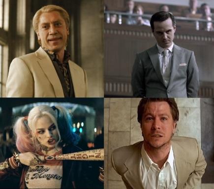 Da Silva de Skyfall, Moriarty de la série TV Sherlock, Harley Quinn de Suicide Squad et Gary Oldman dans Léon.
