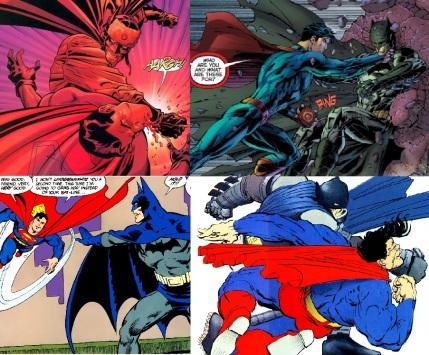 Batman et Superman s'affrontant dans quatre bande dessinées différentes