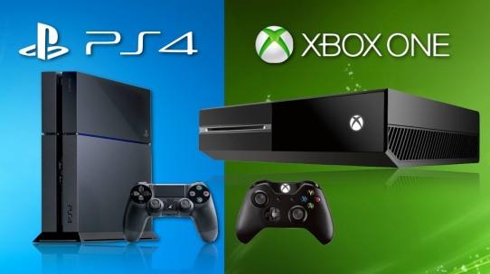 Une image opposant la PS4 de Sony et la X-Box One de Microsoft, illustration moderne de la guerre des consoles.