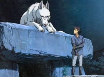 Moro, la louve qui a adopté Mononoké s'entretenant avec Ashitaka.