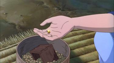 Ashitaka payant un sac de riz avec une pépite d'or.
