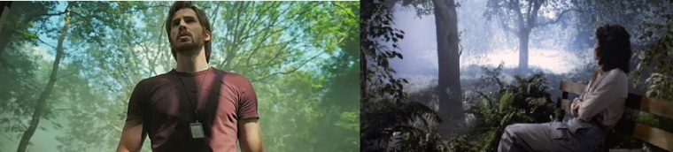 Images comparées de Sunshine et Alien 2 où des personnages se reosent devant une projection de forêt.