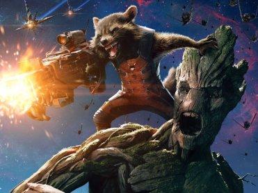 Rocket Raccoon et Groot, personnages des Gardiens de la Galaxie.