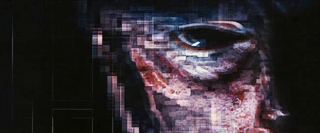 L'oeil pixelisé du capitaine de la première mission devenu fou.