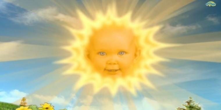 Le soleil à tête de bébé des Teletubbies
