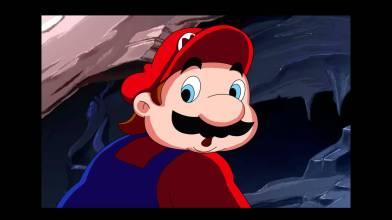 """Mario se retournant et disant """"non"""" par dessus son épaule."""