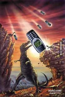 Une pluie de téléphones portables Nokia 3310 remplaçant la météorite dans l'extinction des dinosaures