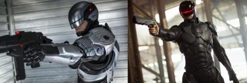 Les deux corps robotiques d'Alex Murphy dans ce film, avant et après le passage de l'équipe marketing.