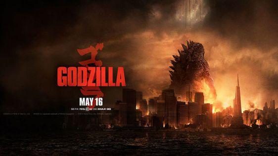 Le poster en format paysage de Godzilla sorti en 2014