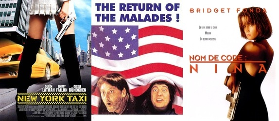Pour preuve, de gauche à droite : le remake américain de Taxi, Les Visiteurs en Amérique, et le remake de Nikita. Alors que dans les pays qui ont une moins grande culture du doublage que la France, ils se contentent de sous-titre, pour tous les films. #Murica