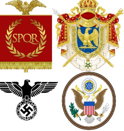 Les aigles héraldiques de l'Empire Romain, l'Empire Français, le parti nazi et le gouvernement américain.